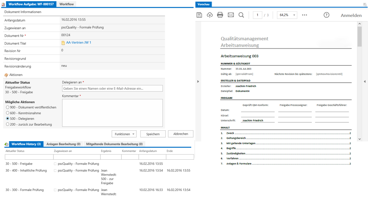 Screenshot - SharePoint - Quality Management Workflowmask
