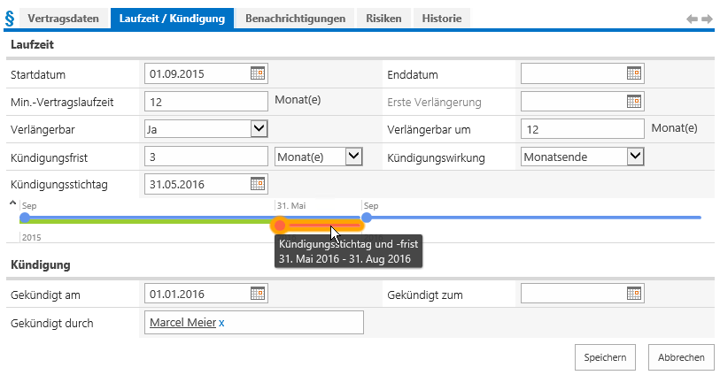 Screenshot: Sharepoint - Contract Term and Deadline easily managed